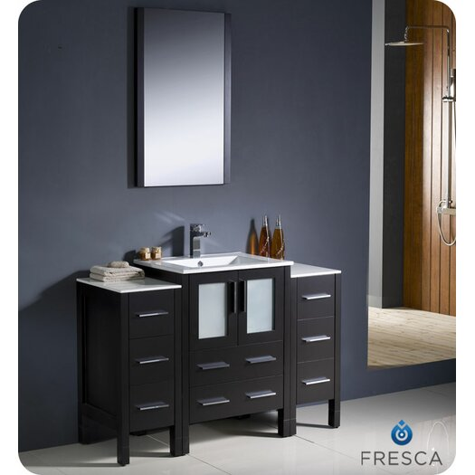 "Fresca Torino 48"" Modern Bathroom Vanity Set with 2 Side Cabinets and Undermount Sink"