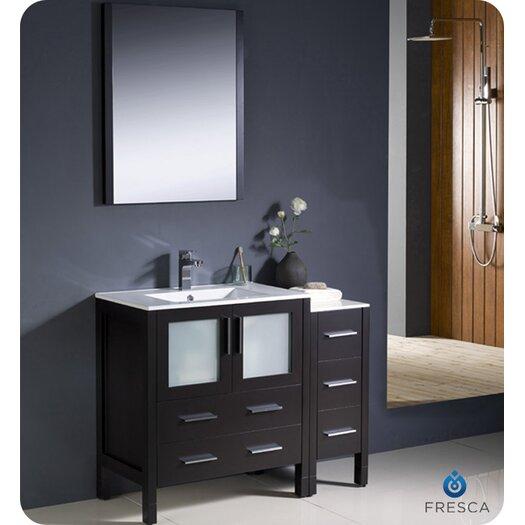 "Fresca Torino 42"" Modern Bathroom Vanity Set with Side Cabinet and Undermount Sink"