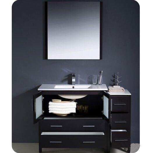 "Fresca Torino 48"" Modern Bathroom Vanity Set with Side Cabinet and Undermount Sinks"