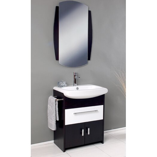 "Fresca Nero 26"" Single Distinto Modern Bathroom Vanity Set with Mirror"