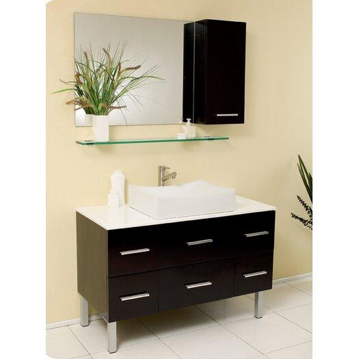 "Fresca Stella 43.25"" Distante Modern Bathroom Vanity Set with Mirror and Side Cabinet"