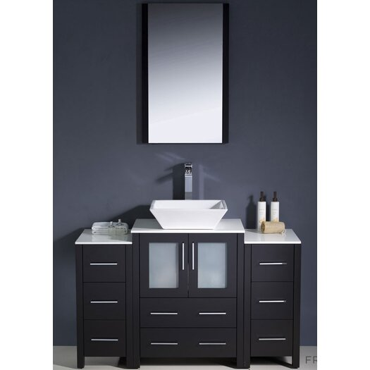 """Fresca Torino 48"""" Modern Bathroom Vanity Set with 2 Side Cabinets and Vessel Sink"""