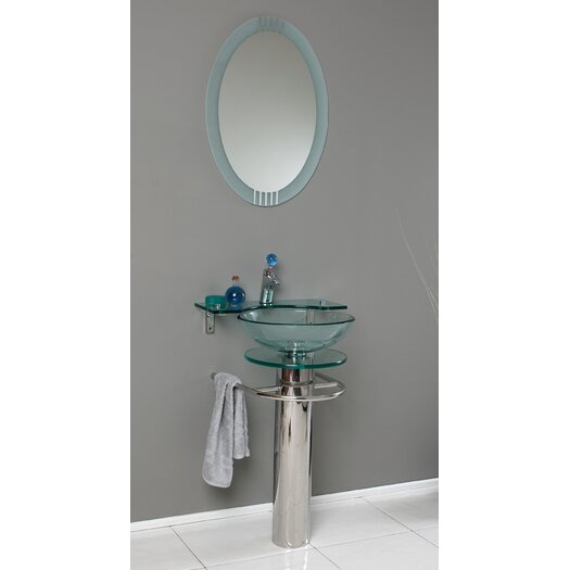 "Fresca Vetro 24"" Single Ovale Modern Bathroom Vanity Set with Mirror"