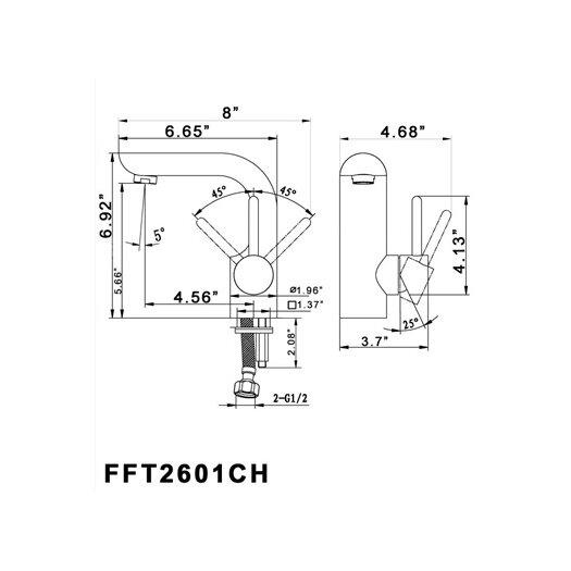 Fresca Platinum Mazaro Single Handle Deck Mount Vanity Faucet