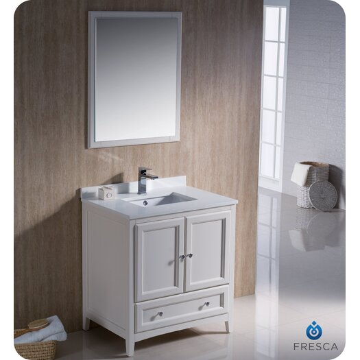 "Fresca Oxford 30"" Single Traditional Bathroom Vanity Set with Mirror"