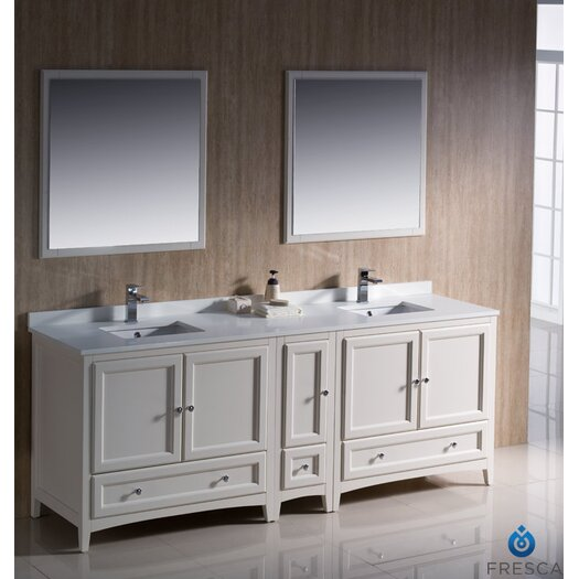 "Fresca Oxford 84"" Traditional Double Sink Bathroom Vanity Set"
