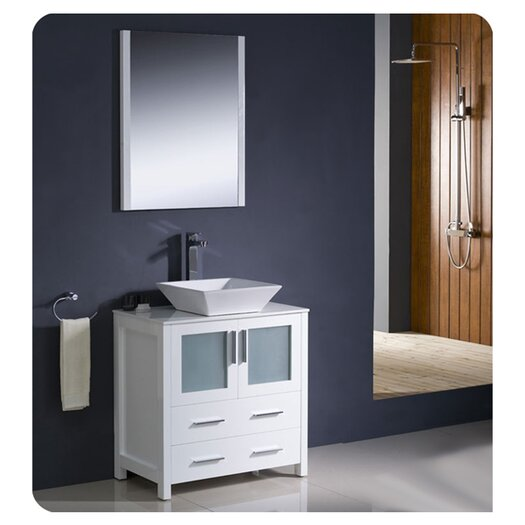 "Fresca Torino 30"" Single Modern Bathroom Vanity Set with Mirror"