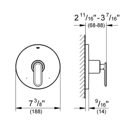 Grohe Veris Pressure Balance Volume Control Faucet Shower Faucet Trim Only