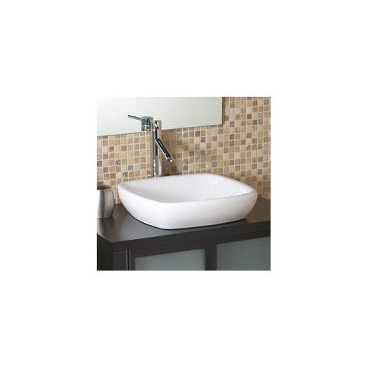 DecoLav Classically Redefined Square Semi-Recessed Ceramic Vessel Bathroom Sink