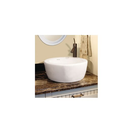 DecoLav Classically Redefined Round Ceramic Vessel Sink with Overflow