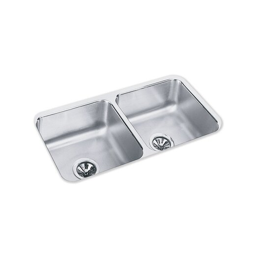 """Elkay 31.75"""" x 16.5"""" Double Bowl Undermount Kitchen Sink with Reveal Rim"""