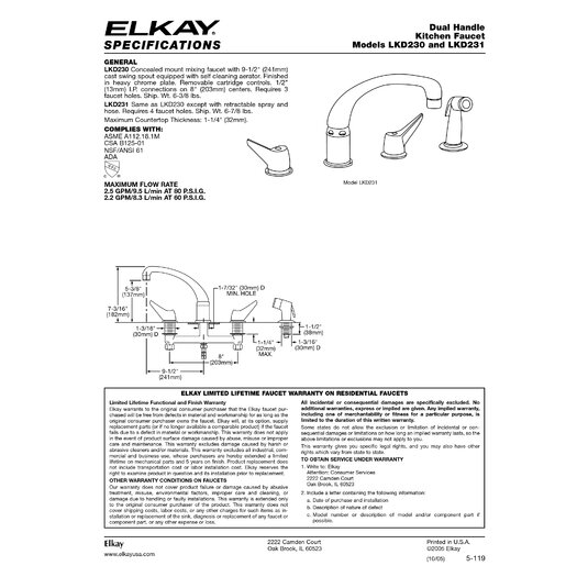Elkay Deluxe Two-Handle Widespread Kitchen Faucet