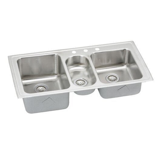 """Elkay Gourmet 43"""" x 22"""" Self Rimming 3-Hole Triple Bowl Kitchen Sink with Faucet"""