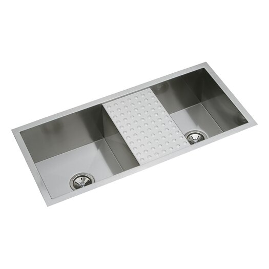 "Elkay Avado 40"" x 18.5"" Double Mutli-Sized Bowl Kitchen Sink with Work Area"