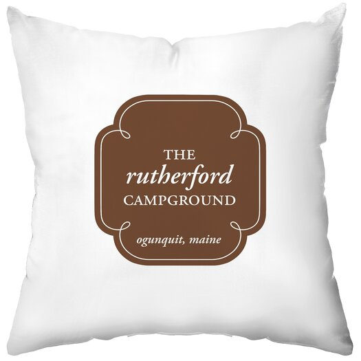 Checkerboard, Ltd Personalized Campground Poly Cotton Throw Pillow