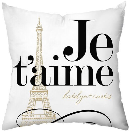 Checkerboard, Ltd Personalized Je'taime Polyester Throw Pillow