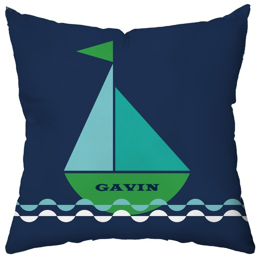 Checkerboard, Ltd Personalized Smooth Sailing Poly Cotton Throw Pillow
