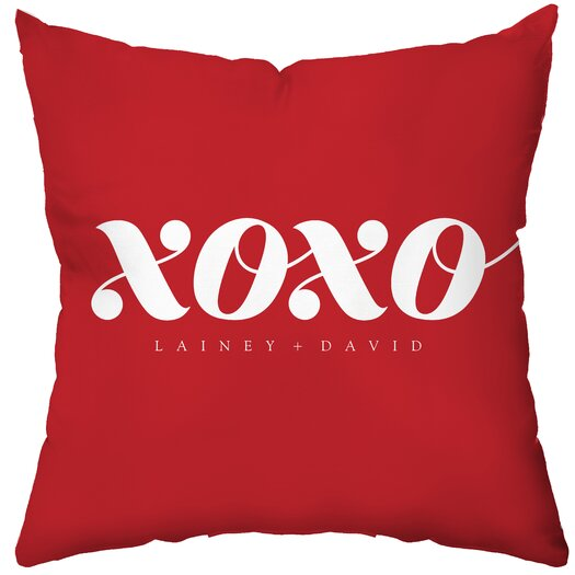 Checkerboard, Ltd Personalized XOXO Poly Cotton Throw Pillow