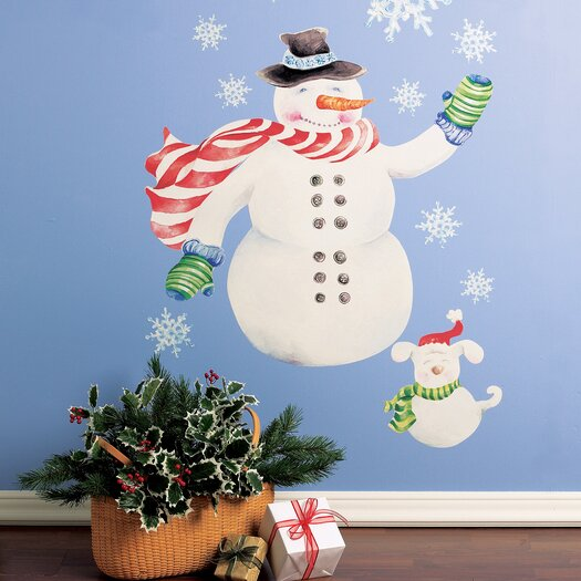 Wallies Snowman Vinyl Holiday Wall Mural