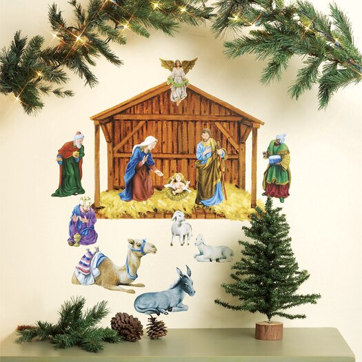Wallies Nativity Vinyl Holiday Wall Mural