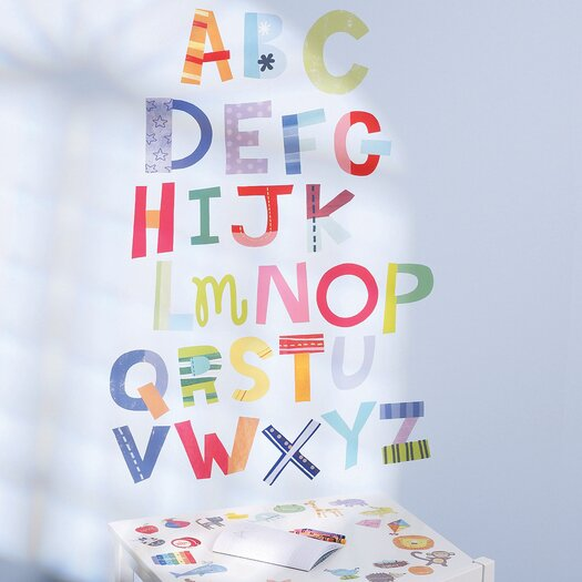 Wallies alphabet fun interactive vinyl peel and stick wall for Alphabet wall mural