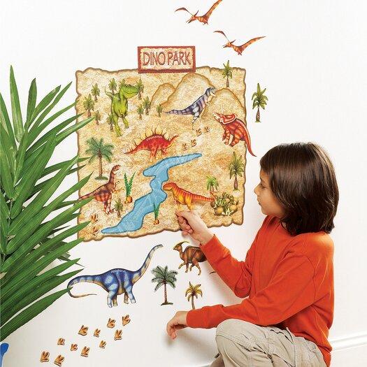 Wallies Dino Park Interactive Vinyl Peel and Stick Wall Mural