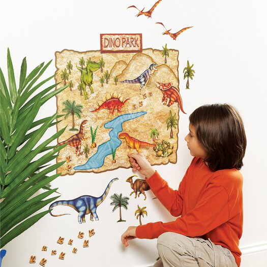 Wallies Dino Park Interactive Vinyl Peel and Stick Wall Mural