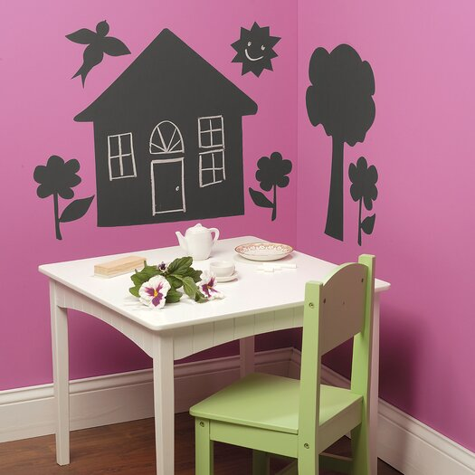 Wallies House and Trees Chalkboard Mural