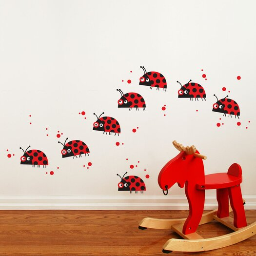 ADZif Piccolo Ladybug Parade Wall Decal