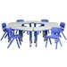 <strong>Trapezoid Activity Table Configuration with 6 School Stack Chairs</strong> by Flash Furniture