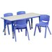 "<strong>Adjustable 21.88"" W x 47.25"" D Rectangular Activity Table with 4 Sc...</strong> by Flash Furniture"