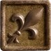 "<strong>Marazzi</strong> Romancing the Stone 2"" x 2"" Compressed Stone Fleur de Lis Insert with Bronze Inlay in Noce"
