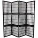 65&quot; Window Pane Room Divider with Shelf in Black