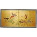 <strong>Oriental Furniture</strong> Gold Leaf Seven Lucky Fish 4 Panel Room Divider