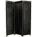 5 Feet Tall Wooden Shutter Three Panel Screen in Black
