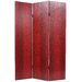 Faux Snakeskin Leather Room Divider in Red