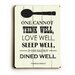 <strong>Dine Well Wood Sign</strong> by Artehouse LLC