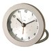 <strong>Diecast Round Travel Alarm Clock in Silver</strong> by Bai Design