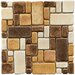 "Heritage 12"" x 12"" Glazed Ceramic Mosaic in Brown and Gold"