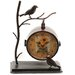 Table Clock with Bird in Dark Metallic