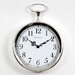 Pocket Watch Wall Clock in Bright Silvertone