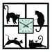 Four Cats Wall Clock in Black Matte