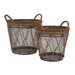 <strong>Woodland Imports</strong> 2 Piece Metal Burlap Baskets Set