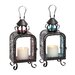 2 Piece Glass and Metal Lantern Set