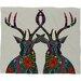 DENY Designs Sharon Turner Poinsettia Deer Plush Fleece Throw Blanket