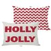 OneBellaCasa.com Holiday Holly Jolly Reversible Pillow