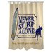 <strong>OneBellaCasa.com</strong> Doggy Decor Never Surf Alone Polyester Shower Curtain
