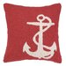 <strong>Peking Handicraft</strong> Nautical Hook White Anchor Pillow