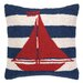 <strong>Nautical Hook Sailboat Stripe Pillow</strong> by Peking Handicraft