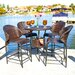 Home Loft Concept Stefan Wicker Outdoor Bistro Bar Set with Ice Pail